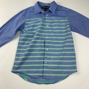 TOMMY HILFIGER Blue and Green Striped Long Sleeve